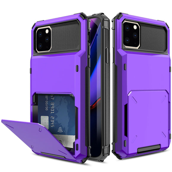 iPhone 11 Pro Max Credit Card Hyrbid case - Purple