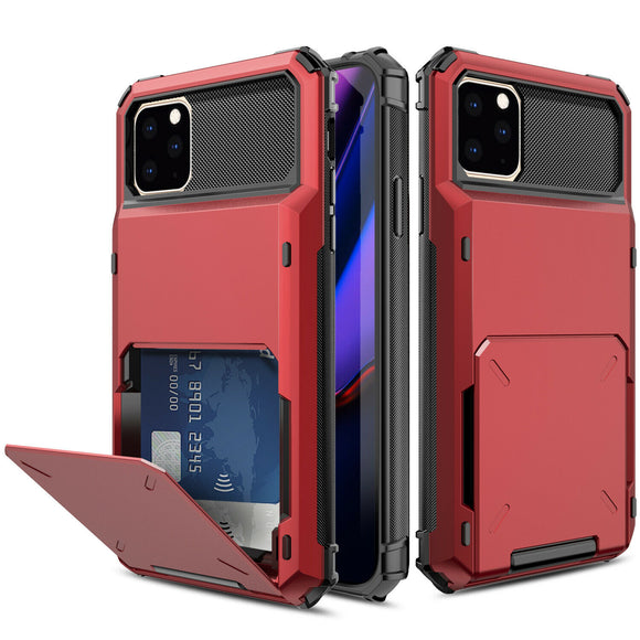 iPhone 11 Pro Max Credit Card Hyrbid case - Red