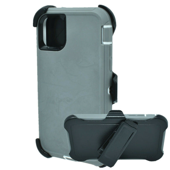 Phone Case iPhone 12 / 12 Pro 6.1 With Belt Clip (Gray/Black)