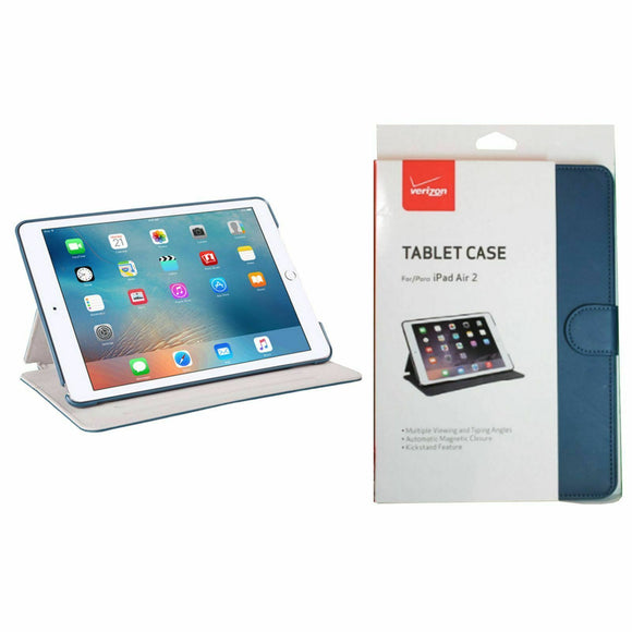 Verizon Durable Protection Tablet Leather Folio Stand Case For Apple iPad Air 2- (BLUE)