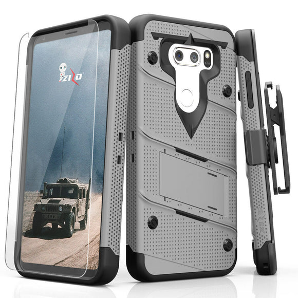 For LG V30 - Zizo [Bolt Series] w/FREE [Clear Glass Screen Protector] Kickstand [Military Grade Drop Tested] Holster - LG V35 ThinQ - GRAY