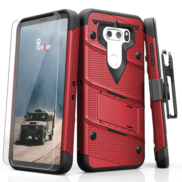 For LG V30 - Zizo [Bolt Series] w/FREE [Clear Glass Screen Protector] Kickstand [Military Grade Drop Tested] Holster - LG V35 ThinQ