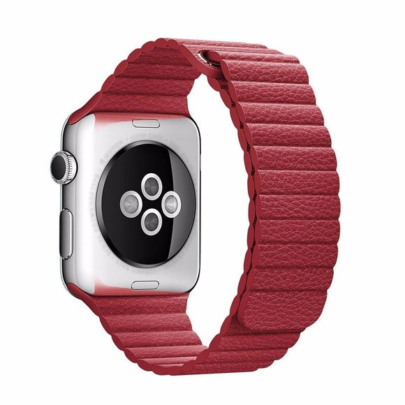 Apple Watch Band Leather Loop Strap for 38mm/40mm (Red)