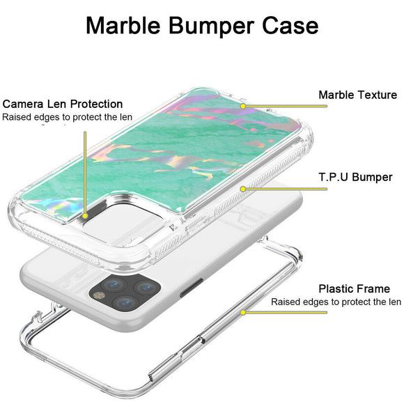 Hybrid Marble Shockproof Bling Rubber Case For iPhone 11 pro max (Marble Mint)