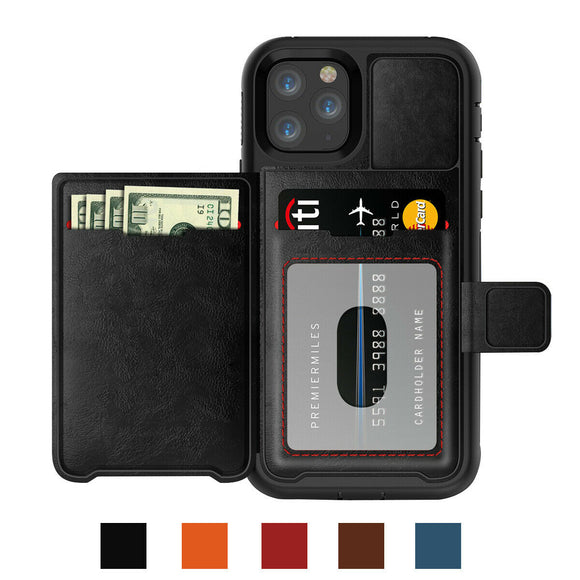 Magnetic Leather Stand Wallet Case with Rugged Bumper For iPhone 11Pro (Black)