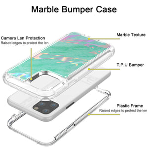 Hybrid Marble Shockproof Bling Rubber Case For iPhone 11 (Marble Mint)