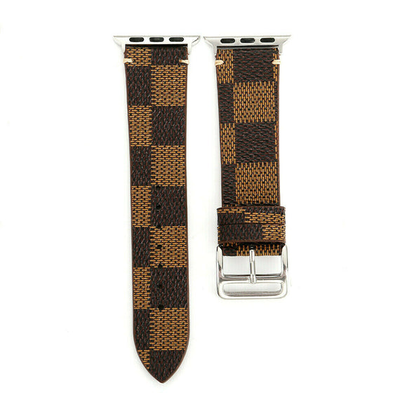 Apple Watch Band 38/40 mm Leather Plaid Brown