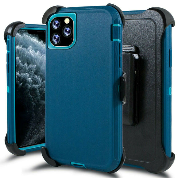 Phone Case iPhone 12 / 12 Pro 6.1 With Belt Clip (Cyan/Black)