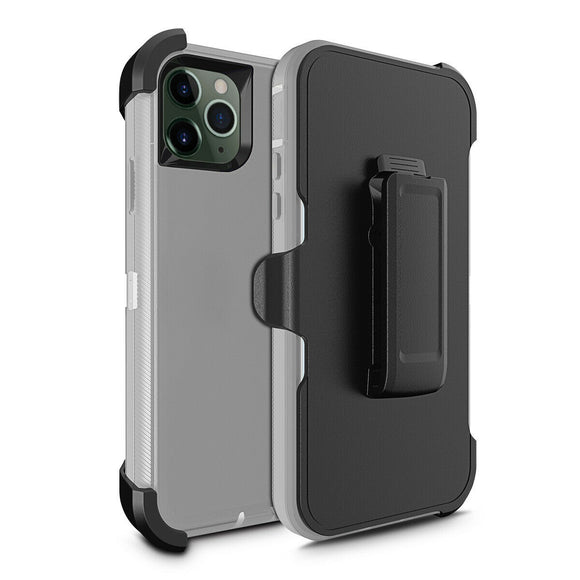 Phone Case iPhone 12 / 12 Pro 6.1 With Belt Clip (Gray/White)