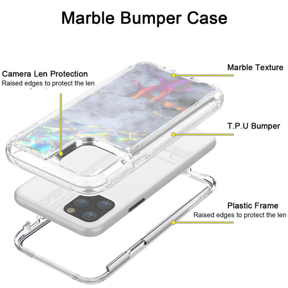 Hybrid Marble Shockproof Bling Rubber Case For iPhone 11 pro (Marble Grey)
