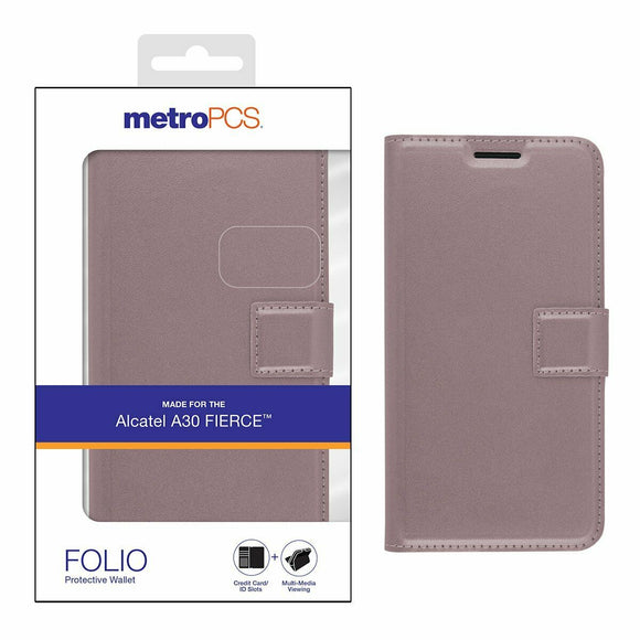 Metropcs Alcatel A30 Fierce Folio Protective Wallet Rose Gold