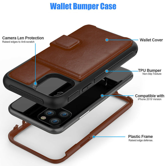 Magnetic Leather Stand Wallet Case with Rugged Bumper For iPhone 11Pro (Brown)