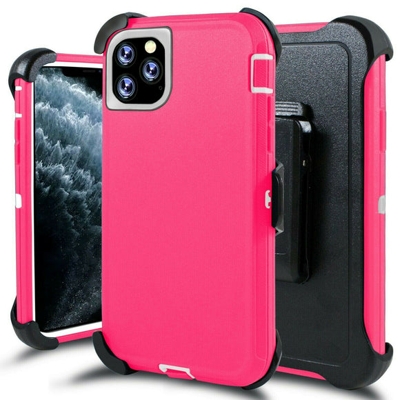 Phone Case iPhone 12 / 12 Pro 6.1 With Belt Clip (Pink/White)