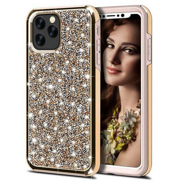 Luxury Glitter Sparkly Diamond Bling Dual Layer TPU+PC Shockproof Case For iPhone 12 Pro Max 6.7 - Gold