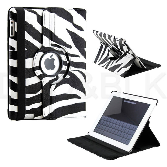 For Apple iPad 2/3/4 Black/White Zebra print 360 Rotating Magnetic PU Leather Case Smart Cover Stand