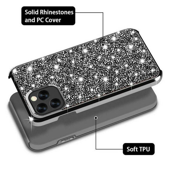 Luxury Glitter Sparkly Diamond Bling Dual Layer TPU+PC Shockproof Case For iPhone 11 Pro Max 2019 -BLACK