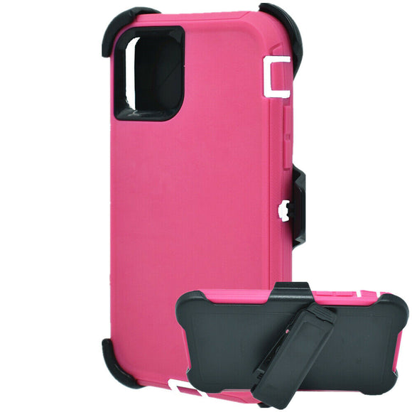 Phone Case iPhone 12 / 12 Pro 6.1 With Belt Clip (Pink/Black)