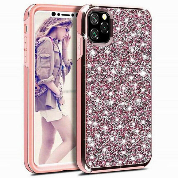 Luxury Glitter Sparkly Diamond Bling Dual Layer TPU+PC Shockproof Case For iPhone 12 / 12 Pro 6.1 - Pink
