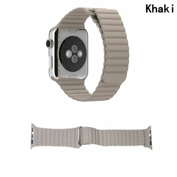Apple Watch Band Leather Loop Strap for 42mm/44mm (Khaki)