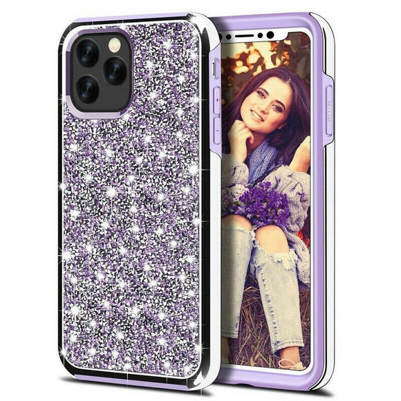 Luxury Glitter Sparkly Diamond Bling Dual Layer TPU+PC Shockproof Case For iPhone 12 Pro Max 6.7 - Purple