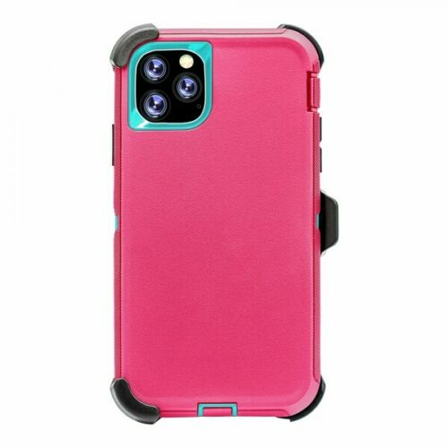 Phone Case iPhone 12/12Pro 6.1 With Belt Clip (Teal/Pink)