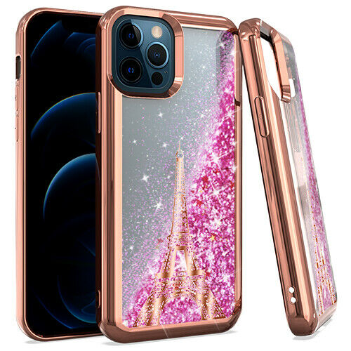 iPhone 12/12PRO CHROME Glitter Motion Cases Paris Tower Rose Gold