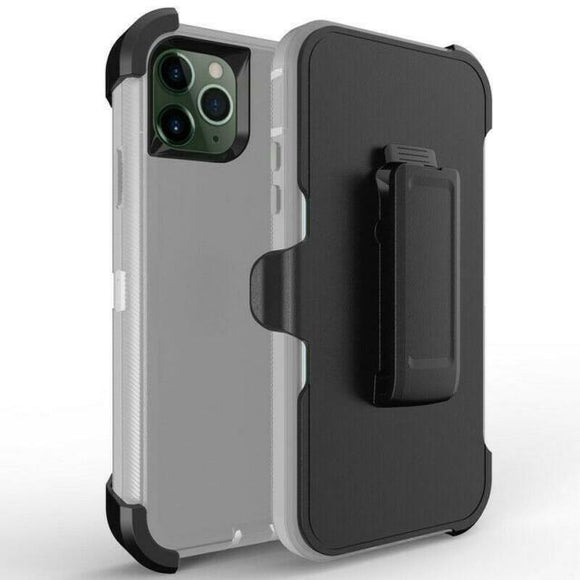 Phone Case iPhone 12 Pro Max With Belt Clip (Gray/White)