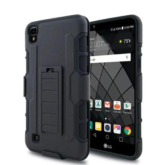 ShockProof Heavy Duty Armour Tough Stand Case Cover With Belt Clip For LG X Power K210/K450/K6/K6P/LS755