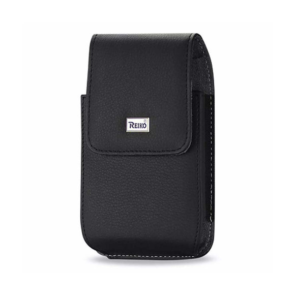 Reiko Leather Vertical Pouch With Metal Logo In Black