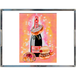 champagne and donuts Acrylic Trays