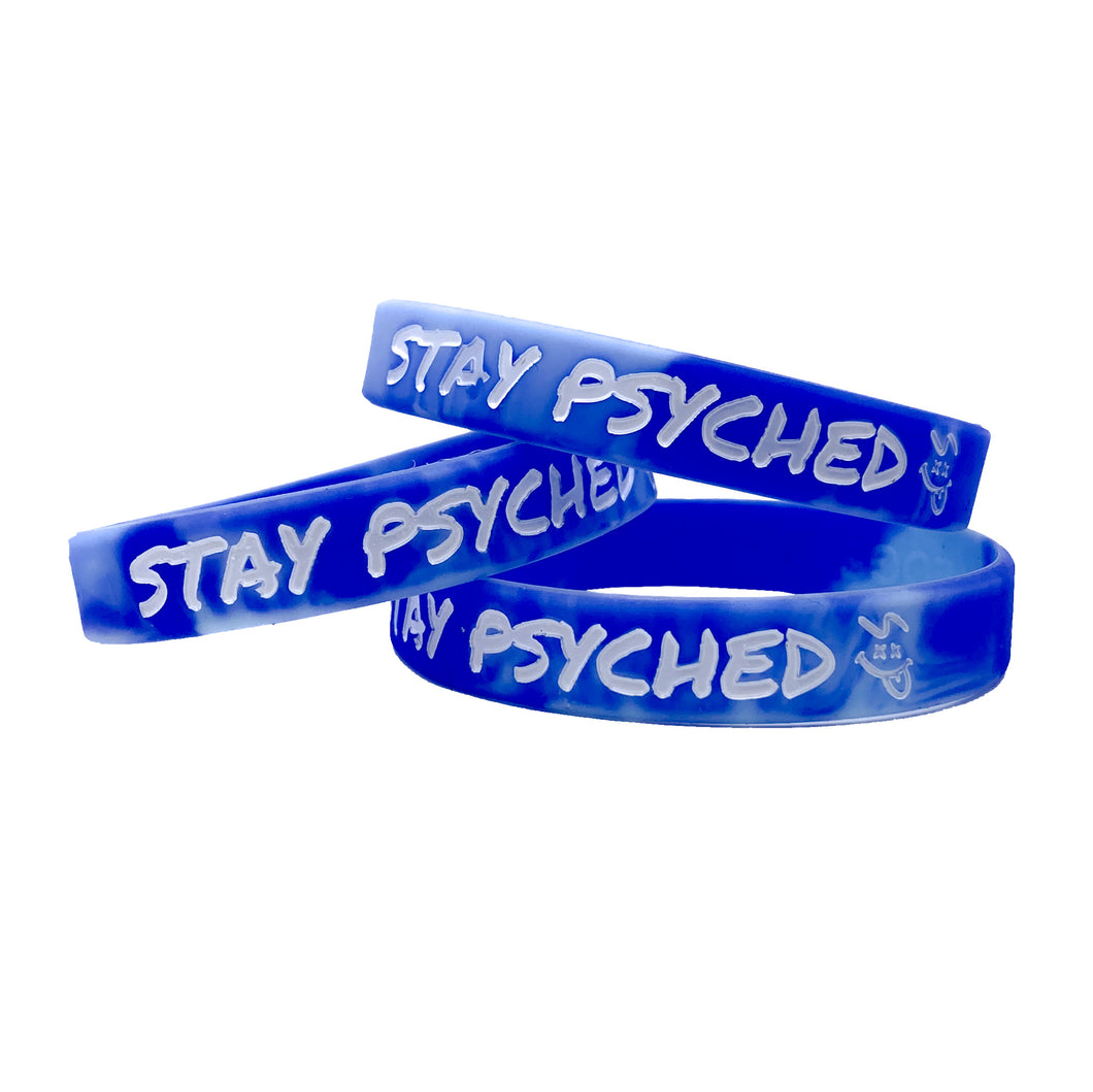 Stay Psyched Wristband - Tie Dye Blue