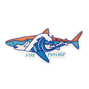 Stay Psyched Shark Sticker