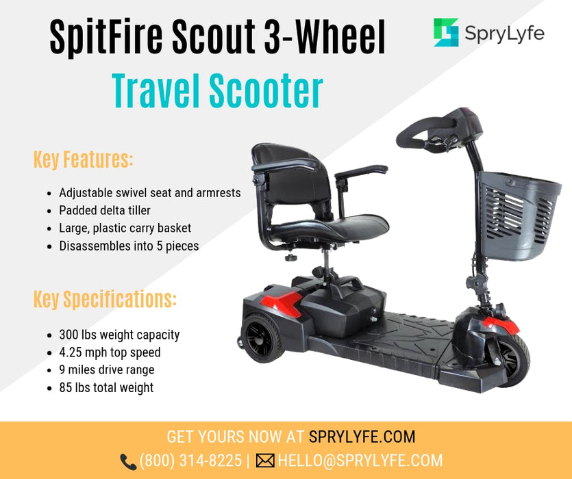 Drive Medical Spitfire Scout 3-wheel travel scooter brochure