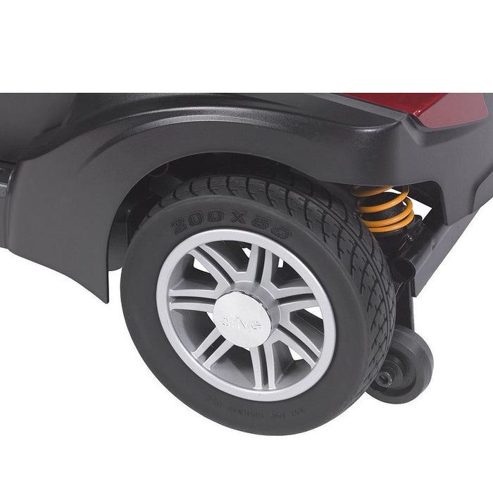 Drive Medical Spitfire DST 4-Wheel Travel Scooter rear and anti-tip wheels