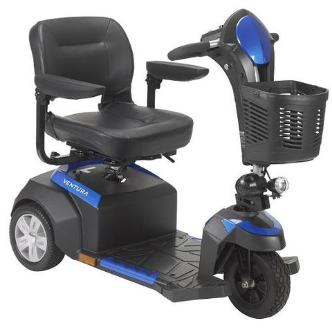 Drive Medical Ventura 3-Wheel Mobility Scooter blue right angle view