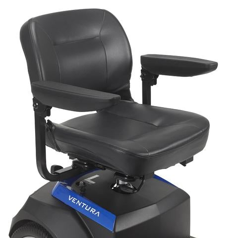 Drive Medical Ventura 3-Wheel Mobility Scooter stadium-style seat with armrests