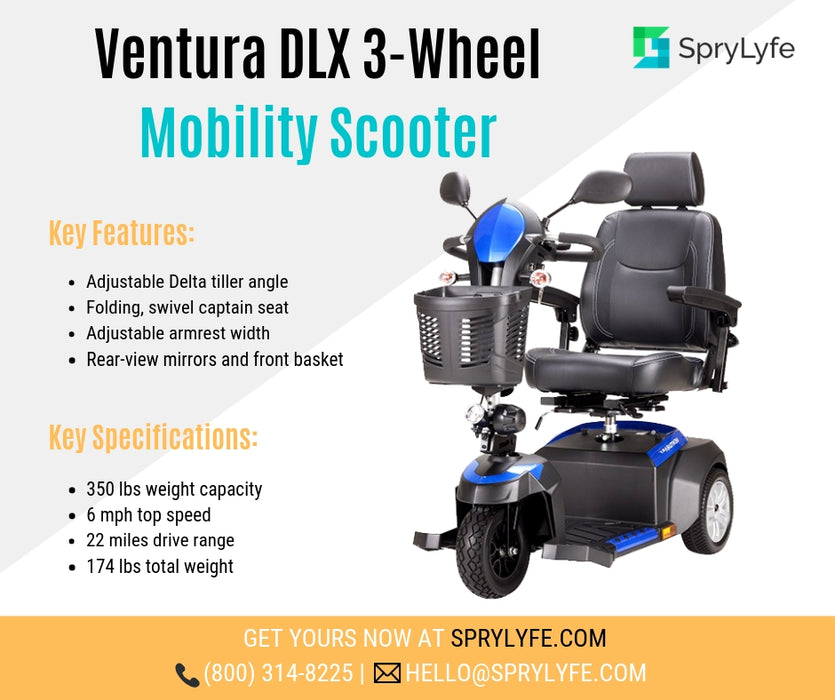 Drive Medical Ventura DLX 3-wheel mobility scooter brochure