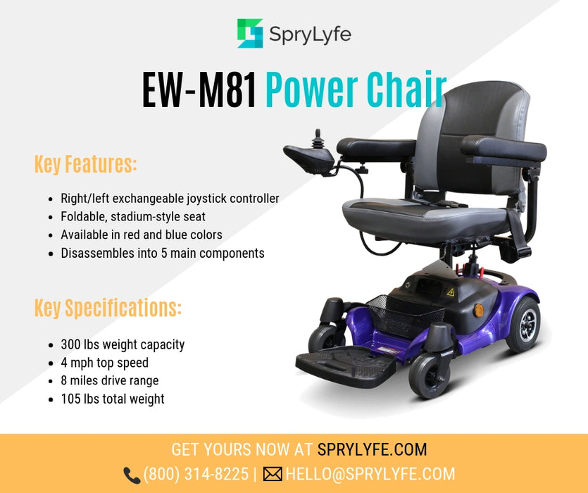 EWheels M81 4-Wheel Power Chair blue brochure
