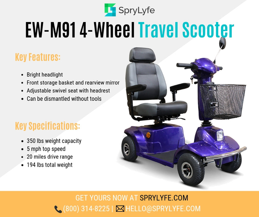 EWheels EW M91 4-Wheel Mobility Scooter blue brochure