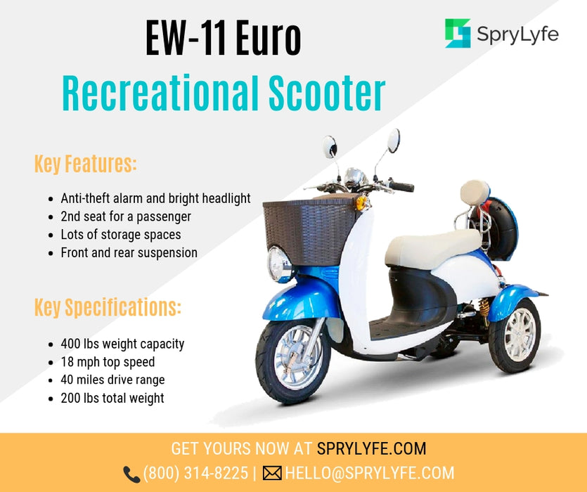 EWheels EW 11 Euro 3-Wheel Recreational Scooter blue brochure