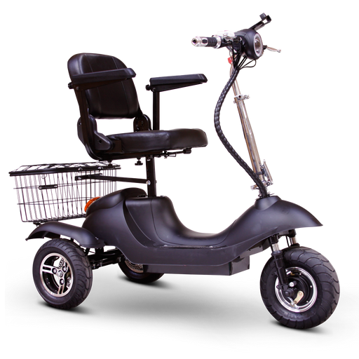 EWheels EW 19 Sporty 3-Wheel Recreational Scooter black with stadium-style seat