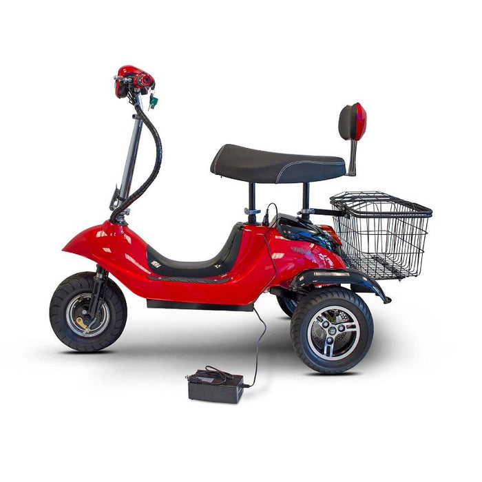 EWheels EW 19 Sporty 3-Wheel Recreational Scooter red connected to the charger