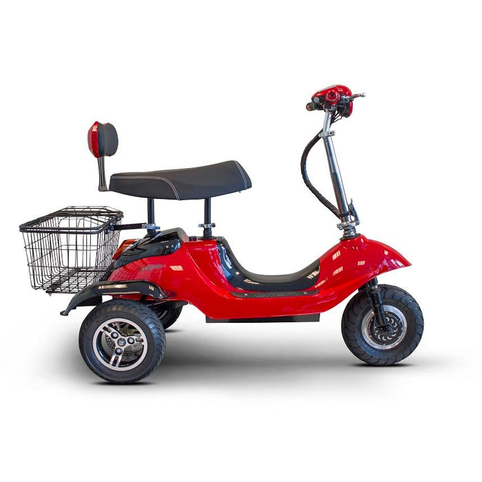 EWheels EW 19 Sporty 3-Wheel Recreational Scooter red half-back seat