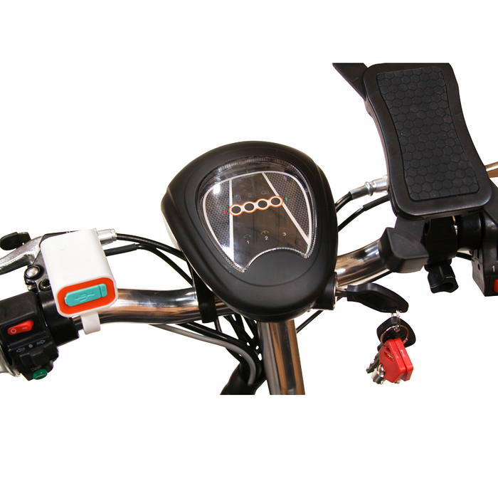 EWheels EW 20 Sporty 3-Wheel Recreational Scooter dashboard, USB port, and phone holder