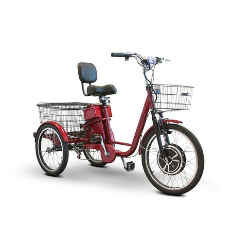EWheels EW 29 3-Wheel Recreational Scooter red with front and rear baskets
