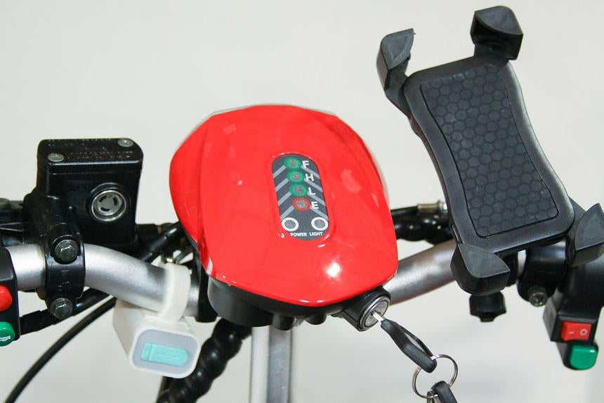 EWheels EW 32 3-Wheel Recreational Scooter red dashboard, USB port, phone holder