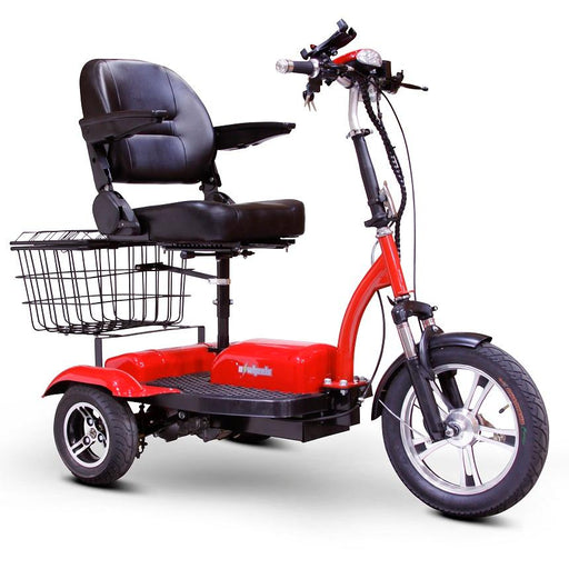 EWheels EW 32 3-Wheel Recreational Scooter red with rear basket