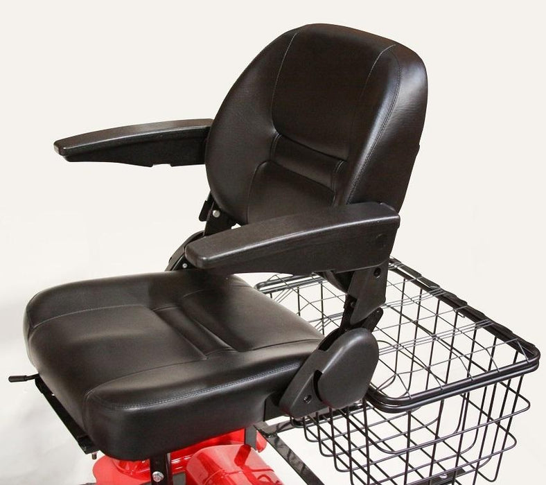 EWheels EW 32 3-Wheel Recreational Scooter stadium-style seat with backrest and armrests