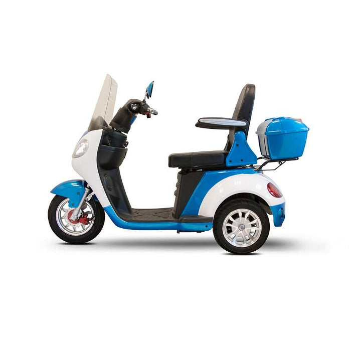EWheels EW 42 3-Wheel Retro-Style Recreational Scooter with windshield blue and white left side view