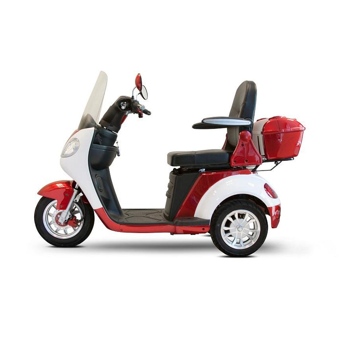 EWheels EW 42 3-Wheel Retro-Style Recreational Scooter with windshield red and white left side view